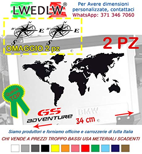 LWEDLW 2a Generazione 2 Adesivi Stickers Planisfero valigie per Moto Enduro Adventure GS