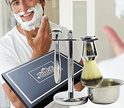 Best Premium Men's Grooming Collection By VINTAGÉ – Complete Luxury Chrome Wet Shave Gift Set - Safety Razor, Badger Hair Brush, Shaving Bowl, & Stand - Bonus Instructional Shaving Guide (No Blades Included)