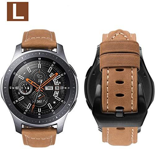 MroTech Armband für Gear S3 Frontier/Classic Lederarmband mit Schwarz Schnalle Echtes Leder Uhrenarmband für Galaxy Watch 46mm, Amazfit Pace, Fossil 22mm Ersatzarmband (Khaki-farbenen/L) (Band 22 Uhr Leder)