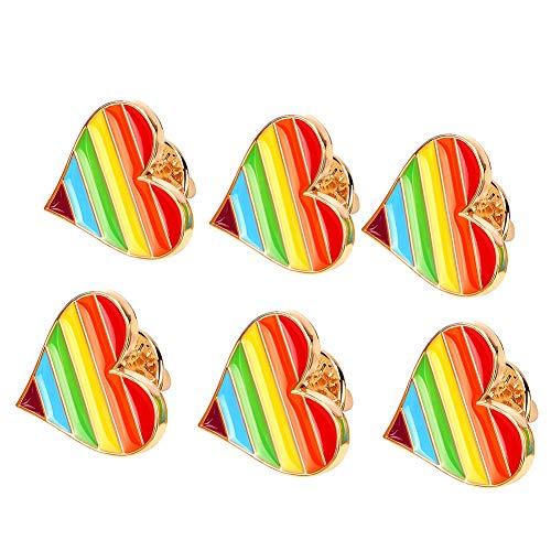 Jacke Mantel Shirt (Tacobear 6 Stücke LGBT Gay Pride Regenbogen Pin Badge Regenbogen Liebe Herz Anstecknadel Gay Pride Schmuck für Kleidung Shirt Jacken Mäntel Krawatte Hüte Kappen Taschen Rucksäcke)