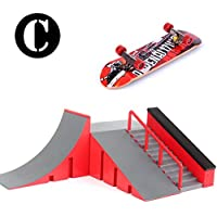 Rampas Skatepark, Mini diapasón Kit Skate Park para Tech Deck Placa de circuito Bricolaje Finger Skate Boarding Ultimate Sport Training Props Toy Regalo de Navidad para niños (C)