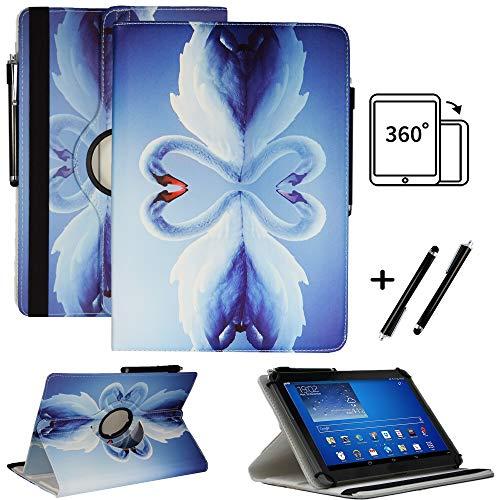 Tablet 10.1 Zoll Hülle für NINETEC Ultratab 10 Pro Schutzhülle Etui Case mit Touch Pen und Standfunktion - Schwan 1 360