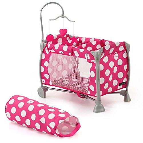 Hauck D90644 i\'coo Puppen-Reisebett mit Mobile Starlight, Dotty Pink