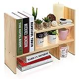 MyGift Schreibtischregal, verstellbar, freistehend, Naturholz, zum Aufstellen auf Schreibtisch / Bücherregal