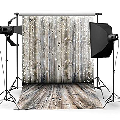 FLORATA 3x5ft Vinyl Cloth Photography Background Nostalgia Wood Floor Paper Pattern Photography Backdrop Studio Props Flooring Wall White Spots - low-cost UK light store.