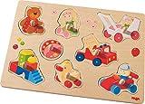 HABA 301963 - Greifpuzzle Meine ersten Spielzeuge | Holzspielzeug ab 12 Monaten | 8-teiliges Puzzle aus Holz mit bunten Spielzeugmotiven | Mit großen Knöpfen zum Greifen