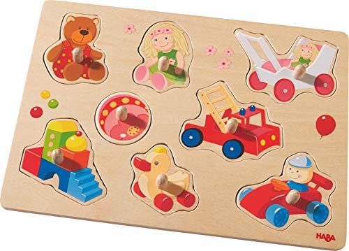Haba 301963–Greif Puzzle Mis primeros Juguetes   Madera Juguete Rompecabezas a partir de 12meses, Juego de 8Madera con motivos juguete multicolores   con grandes botones para agarrar