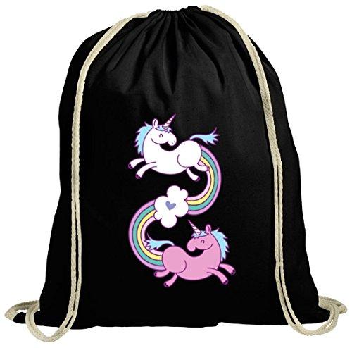 Einhorn natur Turnbeutel mit Unicorns In Love Motiv von ShirtStreet schwarz natur