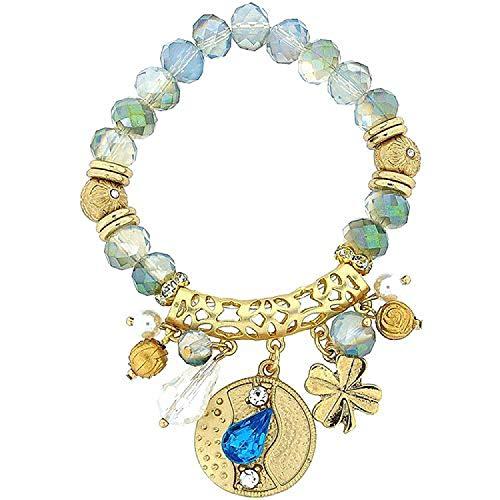 FJ1098 - PARK LANE Damen Elastik-Bettelarmband, bunte Perlen, goldfarbenes Metall