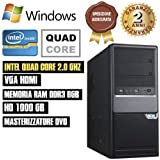 PC DESKTOP INTEL QUAD CORE HD 1TB/RAM 8GB/HDMI/USB 3.0 PC FISSO COMPLETO ASSEMBLATO SISTEMA OPERATIVO WINDOWS
