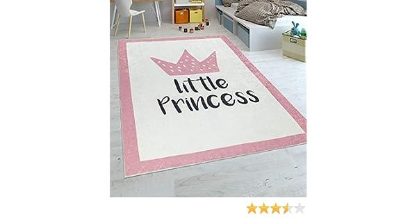Paco Home Tappeto per Bambini Stanza dei Bambini Femminucce Tappeto per Beb/è Lavabile Principessa Detto Rosa Dimensione:140x200 cm