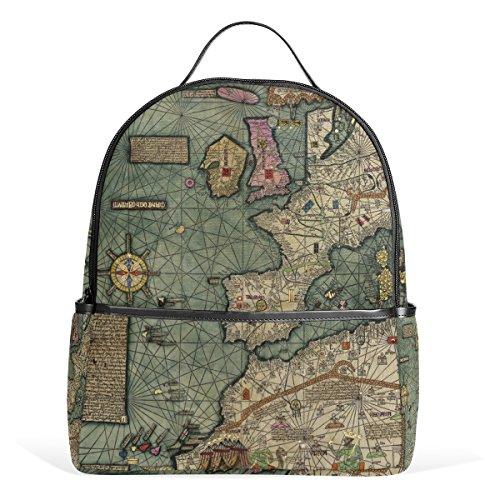 COOSUN Katalanische Atlas Fragment Schule Rucksäcke Bookbags für Junge Mädchen Teen Kinder Mittel Mehrfarbig (Katalanische Atlas)