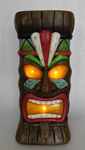 Hi- Line Gift 78527 Decorative Clayfibre Tiki Statue with Solar Lights