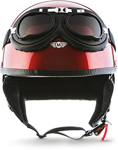 "Moto Helmets® D22-Set \""Red\"" · Brain-Cap · Halbschale Jet-Helm Motorrad-Helm Roller-Helm Scooter-Helm Bobber Mofa-Helm Chopper Retro Cruiser Vintage Pilot Biker Helmet Brille Visier · XL (61-62cm)"