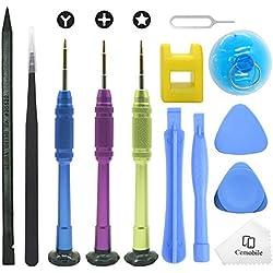 Cemobile Kit d'outils de réparation pour iPhone,kit de tournevis avec des kits d'outils de levier d'ouverture pour iPhone X/8/8 Plus/7/7Plus/6S Plus/6S/6 Plus/6/SE/5S/5/5C/4S,iPod,iTouch (13 Paquets)