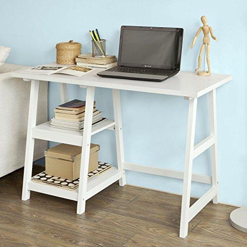 SoBuy® FWT16-W Bureau informatique Table Plan de travail avec 2 étagères -Blanc