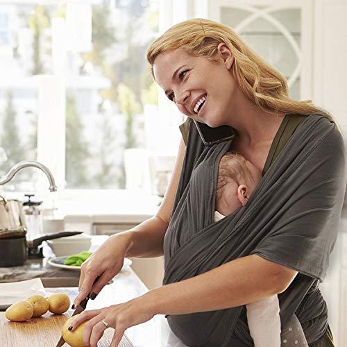 Zogin Elastisches Babytragetuch Baby Carrier Babytragen babytuch für Neugeborene & Babys 0 – 18 Monate, 3 – 12 kg ( dunkelgrau ) - 5