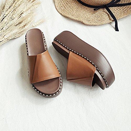 Flipflopsandelholze Damen Sandalen hochhackige dicke Sandalen stilvoll ( Farbe : Braun , größe : EU36/UK3.5/CN35 ) Braun