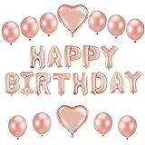 Globos de cumpleaños con texto'Happy Birthday' de Sylanda, color oro...