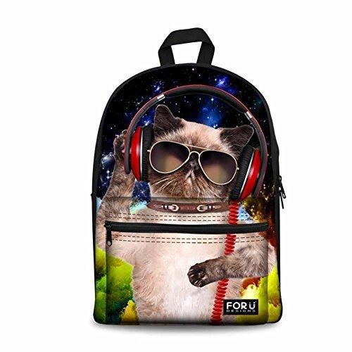 (Für U Designs Cute Animal Cat Dog Kinder Schule Rucksack Kinder Schultasche für Mädchen Jungen mehrfarbig Music Cat-5 Medium)