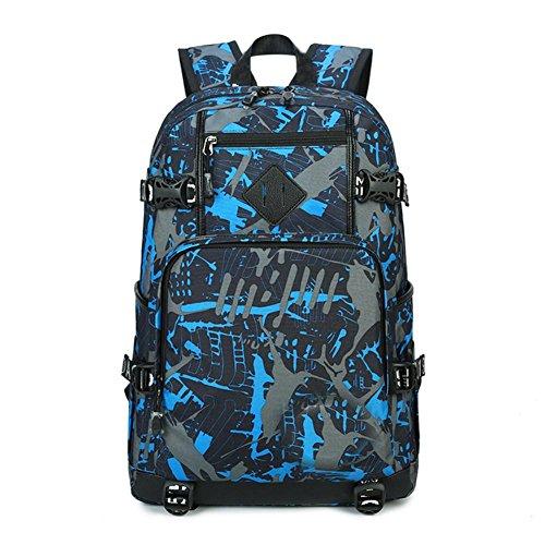 Zaini da uomo camuffamento canvas zaino grande capacità borsa per computer all'aperto per collegio unisex zainetto, deep blue
