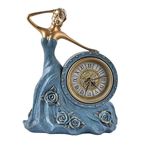 SMC Tischuhr Retro Kreative Stumm Mädchen Stil Dekorative Uhr Für - Wohnzimmer Schlafzimmer Restaurant (Color : Blue, Größe : 28X21cm)