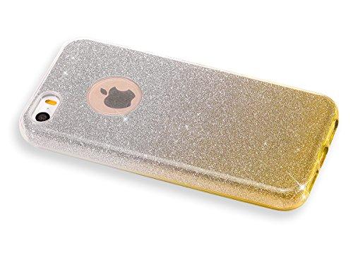 iPhone SE Hülle,iPhone 5 5S Silikon Hülle,JAWSEU Gradient Glitzer Soft Gel Silikon TPU Bumper Case Schutzhülle Shinning Bling Weich TPU Back Rückseite Schutzhülle Handy Tasche Silicone Hülle Etui Cove Gradient Gold