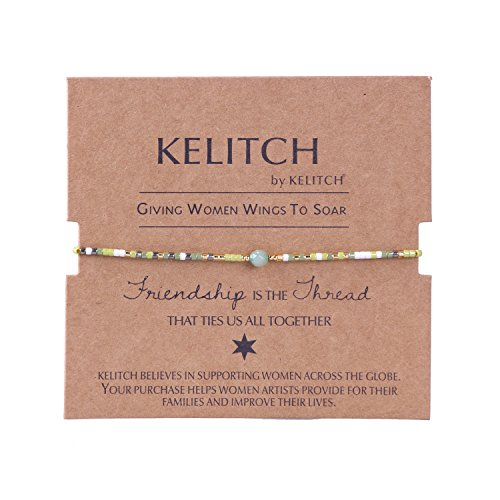 KELITCH Armband Mischen Grün Rocailles Perlen Biene Gelb Zart Schnur Freundschaftsarmbänder mit Grün Achat