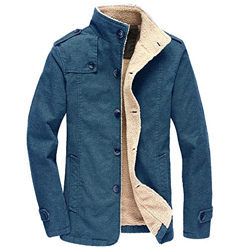 MIRRAY Herren Herbst Winter Casual Langarm Schwarz Khaki Blau Lamm Baumwolle Jacke Top Bluse