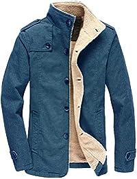 Giacca da Uomo Invernale Moda Manica Lunga da Uomo Casual Cotone d Agnello  Ispessito in Inverno Cappotto con Collo di Pelliccia con… 9545e2a951c