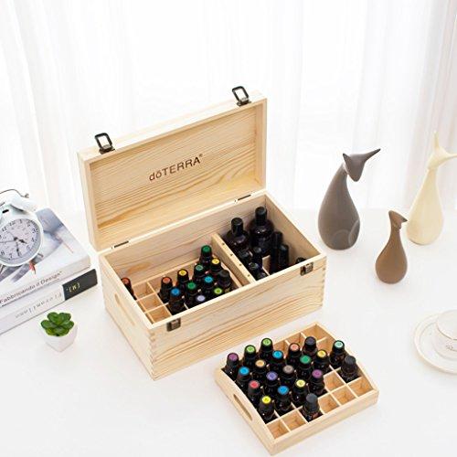 Brilliant firm Make-Up Etuis Holz 15L Öl Aufbewahrungsbox Doppel 66 Grid Holz Öl Box (Color : Beige, Size : 34.7 * 20 * 16.5cm) -