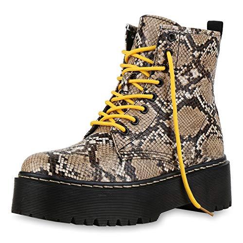 SCARPE VITA Damen Stiefeletten Plateau Boots Leicht Gefütterte Outdoor Schuhe 174265 Creme Prints 37 - Gefüttert Stiefel Schuhe