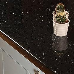 Black Sparkle Effect Laminate Kitchen Worktops - Andromeda (Upstand 3000 x 120 x 18mm)
