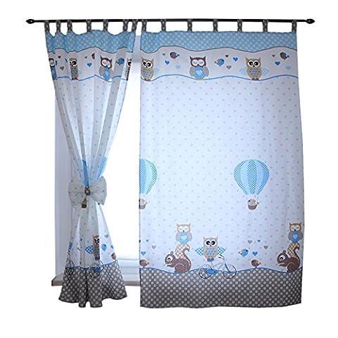 2er Set Gardinen Kinderzimmer Vorhänge mit Schlaufen und Schleifen 155x95 cm Dekoschal Schlaufenschal , Farbe: Eulen 2 Blau, Größe: ca. 155x95