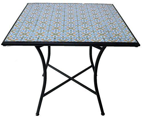 Tavoli In Mosaico Da Giardino.Soriani Tavolo Da Giardino Quadrato In Ferro Top Mosaico Amalfi