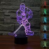 3D eishockey - spieler sportler Optische Illusions-Lampen, Tolle 7 Farbwechsel Acryl berühren Tabelle Schreibtisch-Nachtlicht mit USB-Kabel für Kinder Schlafzimmer Geburtstagsgeschenke Geschenk