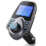 FM Transmitter, [Update Version]Pictek Bluetooth Car, Car Radio Transmitter, Hands-free Bluetooth Car Kits, Wireless Radio Audio Adapter, Bluetooth MP3 Player with Dual USB 5V 2.1A Charging Port, 3.5mm Audio Port, 1.44 LCD Inches Screen Display Work For iPhone Samsung Other Smartphones