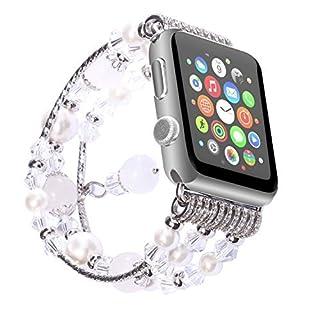 ANGGO Apple Watch Armband iwatch Strap Mode Elastische Stretch Ersatz Armbanduhr Armband Gürtel Uhrenarmbänder für Apple Watch Serie 3 Serie 2 Serie 1 Alle Version(38mm/Weiß)