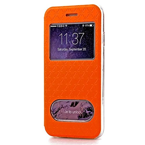iPhone Case Cover Quadrat-Diamant-Gitter-Muster PU-lederner Fenster-Fall-weicher TPU Abdeckungs-Standplatz-Fall mit Karten-Schlitz für IPhone 6 6s Plus ( Color : Purple , Size : Iphone 6S Plus ) Orange