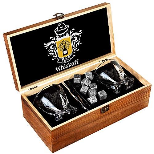 Whiskyglas 2er Set - Bourbon Whiskey Stones Geschenkset - Twist Scotch Rocks Zange, Untersetzer, Kühlsteine & Bar Gläser - Trinkgläser für Damen & Herren - Whiskey Glaswaren in Holz-Geschenkbox