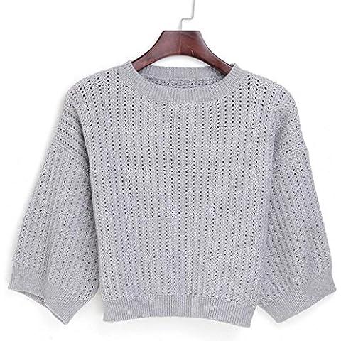 DDSCARF Maglione scavato Knit 'Loose Women Pullover' s donne , gray