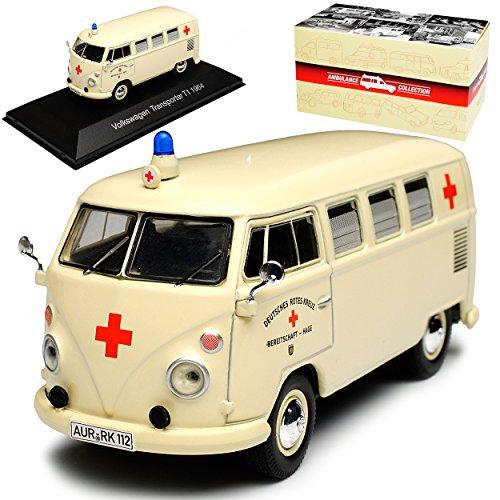 alles-meine.de GmbH VW Volkswagen T1 Beige Drk Krankenwagen Samba Bully Bus 1950-1967 1/43 Atlas Modell Auto mit individiuellem Wunschkennzeichen