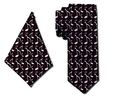 Classic-Tuxedo Music Notes Schwarze Krawatte mit passendem Einstecktuch für Männer (Classic Tuxedo)
