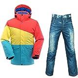 QZHE Combinaison de ski Imperméable Ski Suit Hommes Montagne Ski Veste + Pantalon De Snowboard Respirant Hiver Neige Manteau De Motoneige, M
