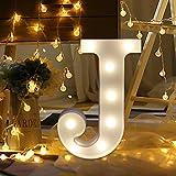 YUYOUG LED Letter Light, Good Home & Party Decorazione Lettera Alfabeto LED Bianco luci Light Up Bianco plastica Lettere in Piedi da Appendere Illuminato Lettere e Numeri a-m &, J, Taglia Unica