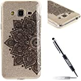 JAWSEU Coque pour Samsung Galaxy J3/J3 2016,Samsung Galaxy J3 2016 Silicone Coque Transparent Etui Housse,Samsung Galaxy J3 2016 Soft Cover Ultra Slim,2017 Neuf Design Beautiful Elegant Vintage Motif Premium Homme Femme Fille Boy TPU Clear Protective Case Cover Ultra Mince en Silicone Gel Bumper Coque Etui de Protection Transparent Flexible Souple en Caoutchouc Cristal Clair Anti-rayures Anti poussière Coque Housse Etui+1*Noir Stylo Paillettes-Noir Fleur 1