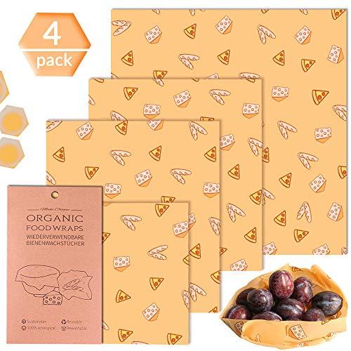 Bienenwachstücher, Wachspapier für Lebensmittel Alternative zu Einweg Plastikverpackungen Beeswax Wraps Aufbewahrung von Käse, Obst, Gemüse,Brot, 4er Set( 1*Groß +2*Mittel+ 1*Klein) (fruchte muster) -