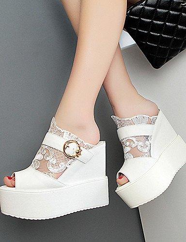 UWSZZ Die Sandalen elegante Comfort Schuhe Frau - Sandalen - Casual/Abend und Fest/formellen - Fersen/Plateau - mandrin - Paint/Kunstleder - Schwarz/Silber/goldene-US 8 / EU 39/UK6/CN 39, golden-US 8  White