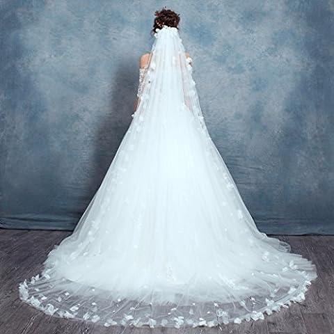 Braut Kathedrale Schleier handgemachte Blütenblätter lange ziehen Schwanz Zubehör
