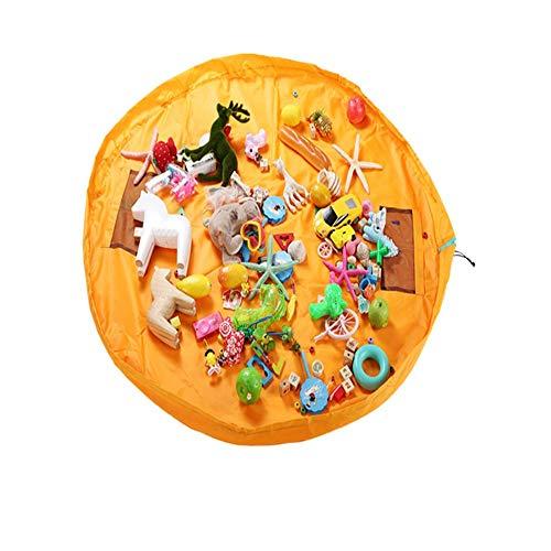 Tapis de jeu pour enfants et sac de rangement pour jouets Organisateur de conteneurs Tapis pour enfants idéal pour ranger des jouets ou des legos de petite taille, jaune